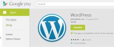 WordPress app on the Google play store
